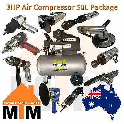 WONDER 3HP 240v Air Compressor Direct Drive 198L/min 50L Tank Packages