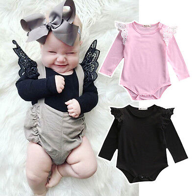 US-STOCK Lace Newborn Toddler Baby Girl Bodysuit Romper Jumpsuit Clothes Outfits