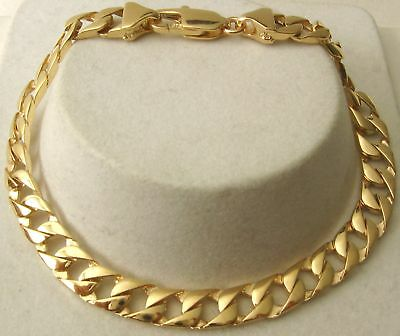 GENUINE  SOLID  9K  9ct YELLOW  Gold  UNISEX  FLAT  CURB  BRACELET  21 cm