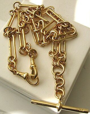 GENUINE  9K  9ct  SOLID  GOLD  ALBERT  CHAIN  FOB  NECKLACE  WITH  T-BAR