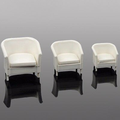 2 X Miniature Doll House Arm Chair Sofa Settee Furniture Model Decor 1:20 White