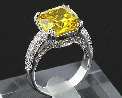 Antique Natural Yellow  Diamond   Ring  5.98ct In 14kt Solid White Gold Size8