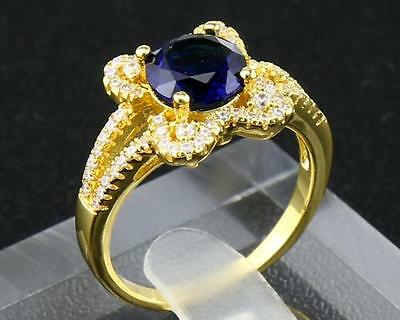 2.68 Carat Natural Sapphire 14Kt Solid Yellow Gold Rings Size9