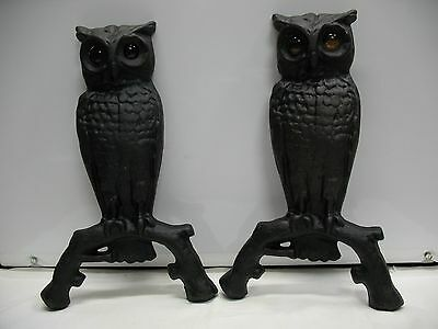 Pair Antique / Vintage Cast Iron Owl Fireplace Andirons with Amber Glass Eyes