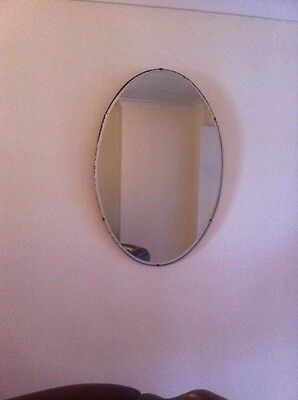 Vintage Very Art Deco frameless bevelled edged Wall Mirror
