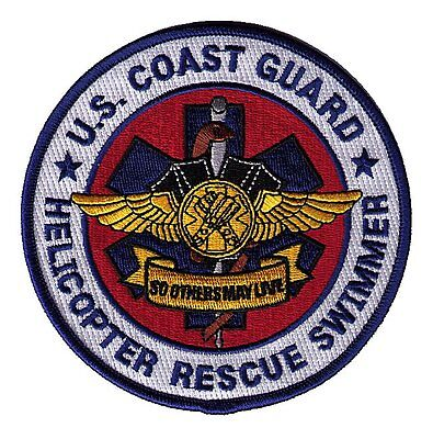 "Helicopter Rescue Swimmer color 4.5"" brown caduceus W5574 USCG Coast Guard patch"