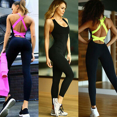 Womens Athletic Clothes Sports YOGA Workout Gym Fitness Leggings Pants Jumpsuit