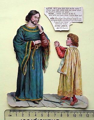 Large Victorian Embossed Scrap Shakespeare Play Act Scene King John Hubert Arthu