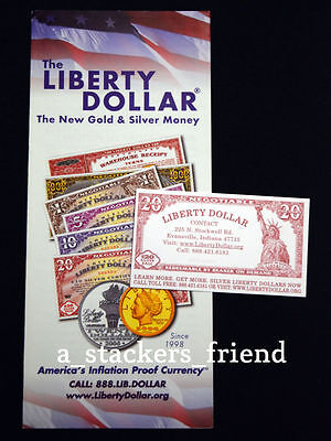 NORFED Silver & Gold Liberty Dollar brochure +$20 Base Card! Authentic Free Ship