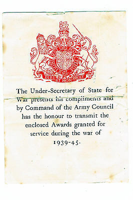 WW2 Commonwealth certificate that accompanied award of medals.