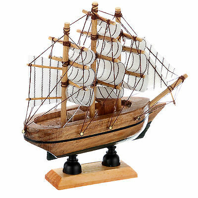 14cm Hand-made Wooden Sailing Craft Ship Model Home Decoration Toy