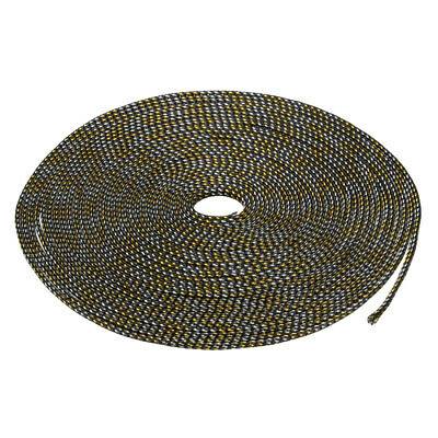 6mm PET Cable Wire Wrap Expandable Braided Sleeving Black Golden 10M Length