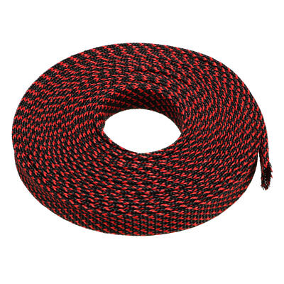 8mm PET Cable Wire Wrap Expandable Braided Sleeving Black Red 5M Length