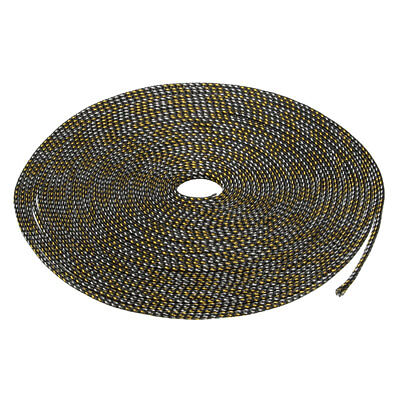4mm PET Cable Wire Wrap Expandable Braided Sleeving Black Golden 10M Length