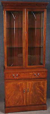 Strongbow Regency Style Inlaid Flame Mahogany Display Cabinet On Cupboard Base