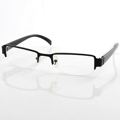 Men Half Frame Bifocal Reading Glasses Presbyopic Eyewear Reader Clear Spectacle