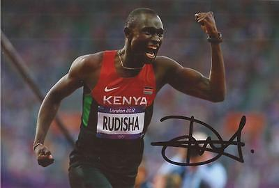 ATHLETICS: DAVID RUDISHA SIGNED 6x4 LONDON 2012 PHOTO+COA *RIO 2016* *PROOF*