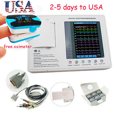 12-channel 3-lead Digital Electrocardiograph ECG/EKG Machine interpretation USA!