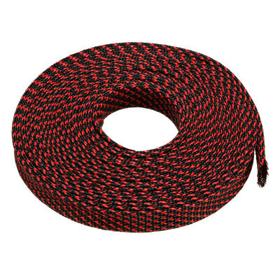 8mm PET Cable Wire Wrap Expandable Braided Sleeving Black Red 10M Length