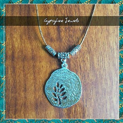 Tree of Life Brown Leather Cord Necklace Pendant Yoga Surf Beach Hipster ♡