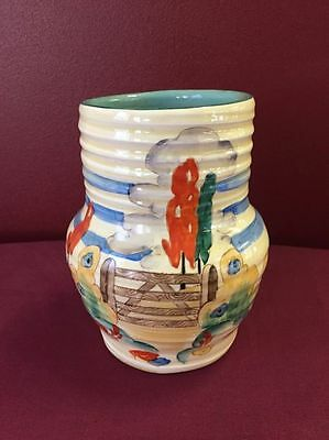 """Clarice Cliff """"gates and trees"""" pattern vase signed to base HEIGHT=14CM"""