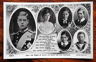 Royalty Photo Postcard Rp Prince Of Wales, Sister Mary 4 Brothers Albert Henry