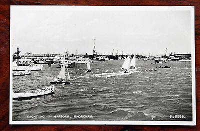 Posted 1965 Photo Postcard Rp Sussex Shoreham Yachting In Harbour Boats