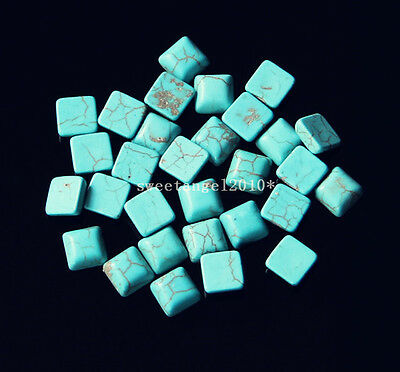 50Pcs Turquoise Square Cabochon Flatback Loose Beads For Jewelry Making 6x6mm