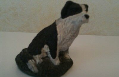 Black and White Border Collie Ornament Sitting Dog on Grass Figurine 6 cms high