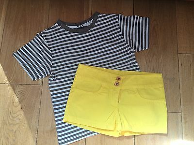NEW Designer Girls AGATHA RUIZ DE LA PRADA yellow shorts + t-shirt outfit set 3y