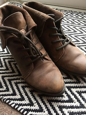 Office Brown Leather Ankle Boots Size 4 Lace Up