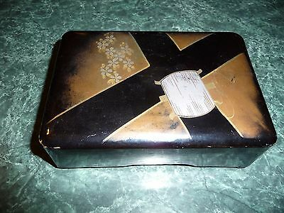 No Mend Silk Hosiery Box, Vintage, Made in Japan, Black lacquer buckle motif
