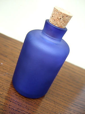 Small Cobalt Blue Frosted Glass Bottle With Cork