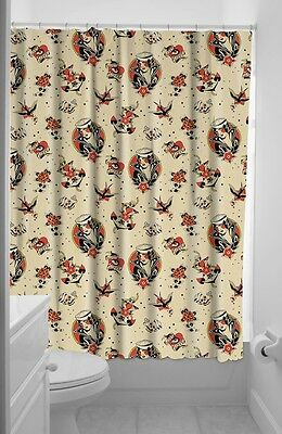Sourpuss Lost Love Trad Tattoo Pinup Shower Curtain Vintage Rockabilly Gift New