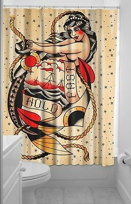 Sourpuss Hold Fast Tattoo Pinup Mermaid Shower Curtain Vintage Rockabilly New
