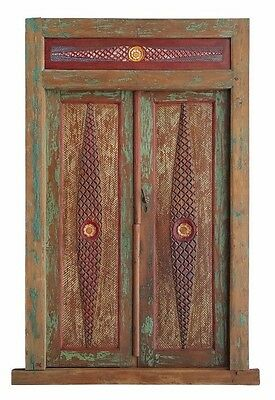 Balinese Original Antique Yellow Red Natural Etched Timber Hand Carved Door- 10A