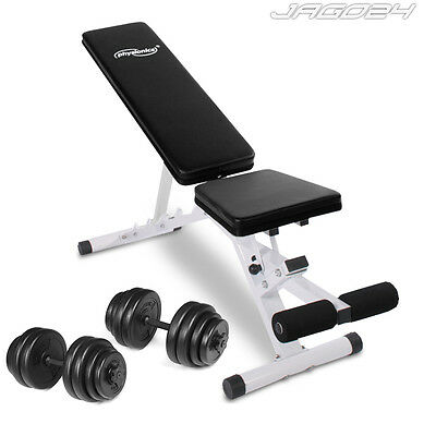 Adjustable Weight Bench + 30kg Dumbbell Set Home Gym Arm Biceps Triceps Workout
