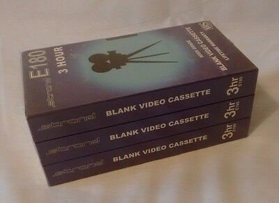 Strand E180 Blank Video Cassette Tapes PK3 - Brand New and Sealed
