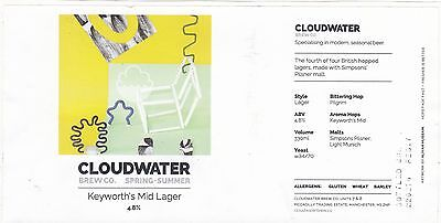 CLOUDWATER Brew - KEYWORTH'S MID LAGER  Beer Label