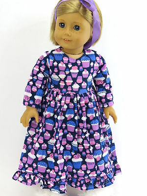 Cupcake Nightgown Pajamas PJs For 18 Inch American Girl Doll Clothes
