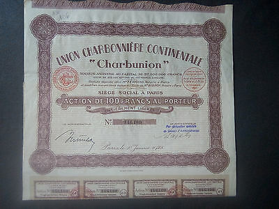 Lot 10 CHARBONION 1928, Action 100 FR + coupons