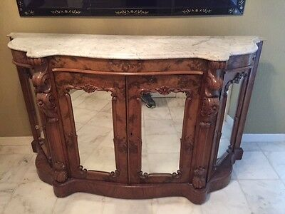Antique 1800's Ornate Burl Walnut Mirrored Sideboard Server Buffet Marble Top