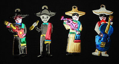 Colourful Mexican Set of Musician Day of the Dead-Token charm Folk Art Miracle