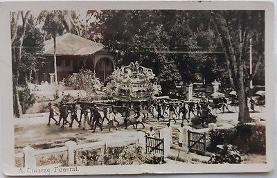 Malaya Penang 1930 Chinese Funeral Photo Picture Post Card To England