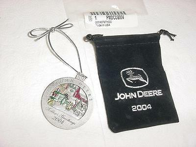 2004 John Deere Christmas Ornament 9th In The Series JD In Black Pouch MINT