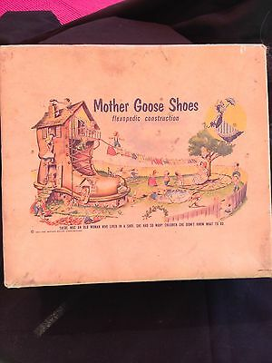 Vintage 1954 Mother Goose Shoe Box w/ Great Children's  Story Book Graphic