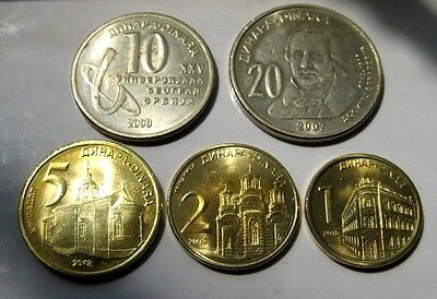 2 Commemorative Coins Serbia 2007 / 2009 Dinars Limited Edition + 3 Coins