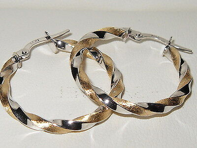 Beautiful 18ct yellow & white gold twisted leverback hoop earrings