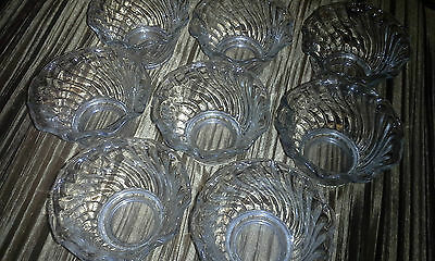 Set of 8 Beautiful ANCHOR HOCKING Clear Swirl Glass Bowls Dishes