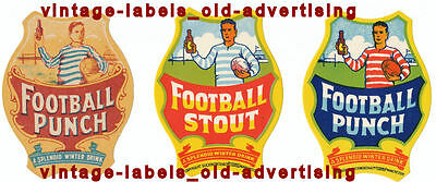 COLLECTION 3 DIFFERENT VINTAGE VANISHED RUGBY FOOTBALL drinks labels pictorials